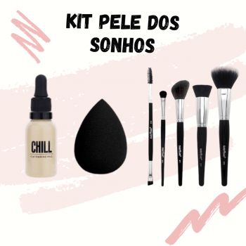KIT PELE DOS SONHOS (ESPONJA MARKETO + BASE CHILL CATHARINE HILL + KIT EVOLUTION 1 MACRILAN)